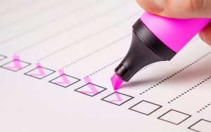 making to-do lists and checking them off